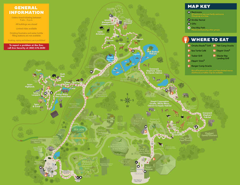 Map of Omaha Zoo during Phase 1 of reopening in 2020