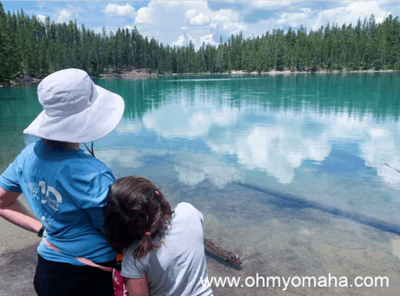 Mom and daughter admiring the view at Clear Lake in Yellowstone National Park.
