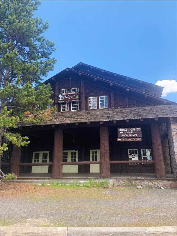 Old Faithful Lodge Cabins have reopened for the summer of 2020, though nearby Old Faithful Inn and Old Faithful Snow Lodge have not.