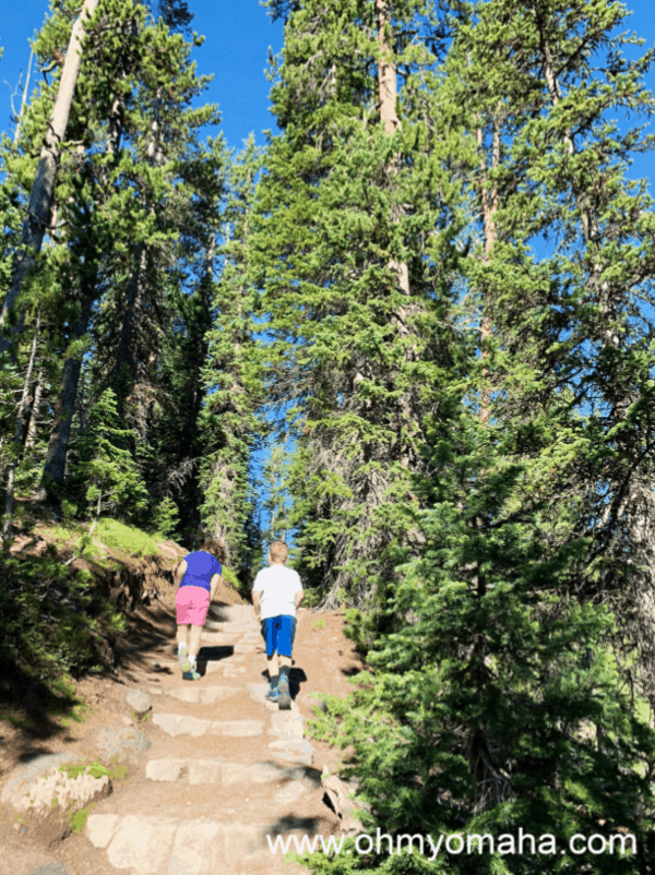 Kids walking up incline to see better view of Lewis Falls in Yellowstone National Park