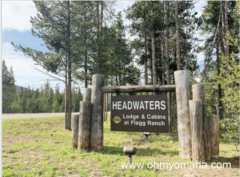 Entrance to Headwaters Lodge & Cabins at Flagg Ranch at Grand Teton National Park in Wyoming