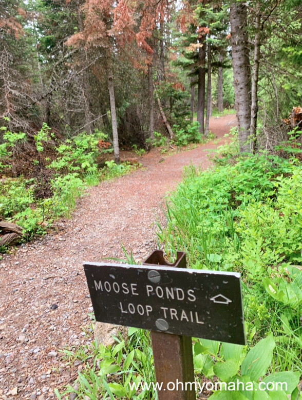 Sign for Moose Ponds Loop Trail at Grand Teton National Park in Wyoming
