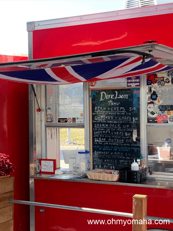 The menu at the Dire Lion, a food truck that is often found at Trucks and Taps in Omaha.