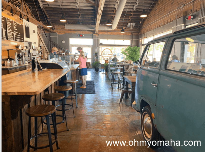 Interior of Harriet and Oak in Rapid City, complete with a VW van.