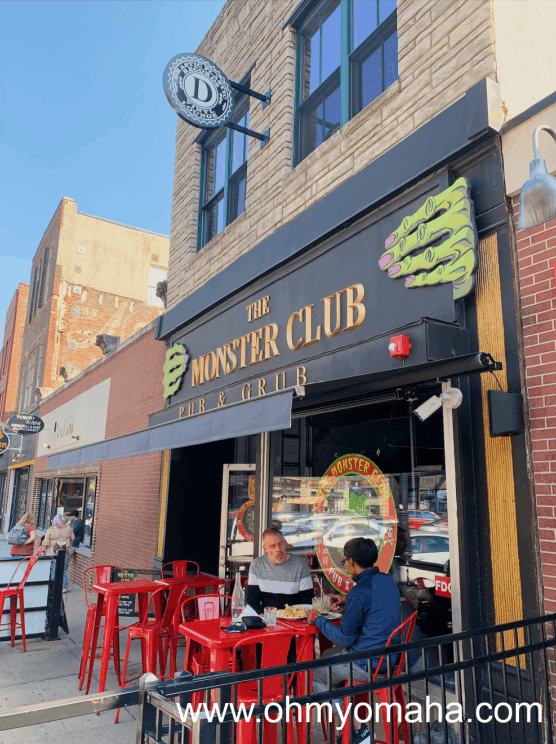 The exterior of The Monster Club in the Old Market of Omaha.