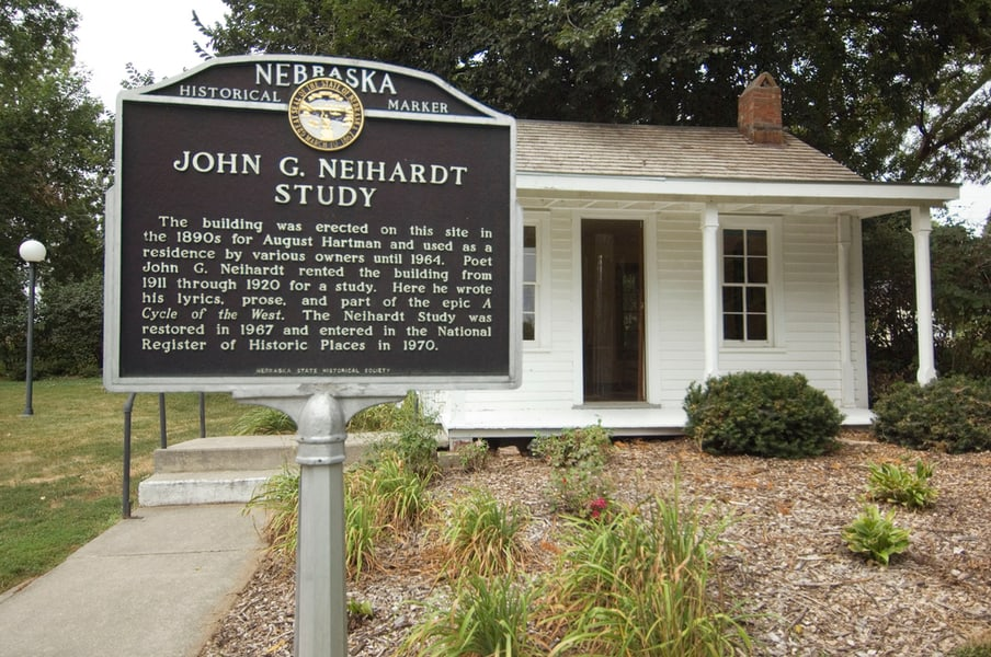 The exterior of the John G. Neihardt Study in Bancroft, Nebraska.