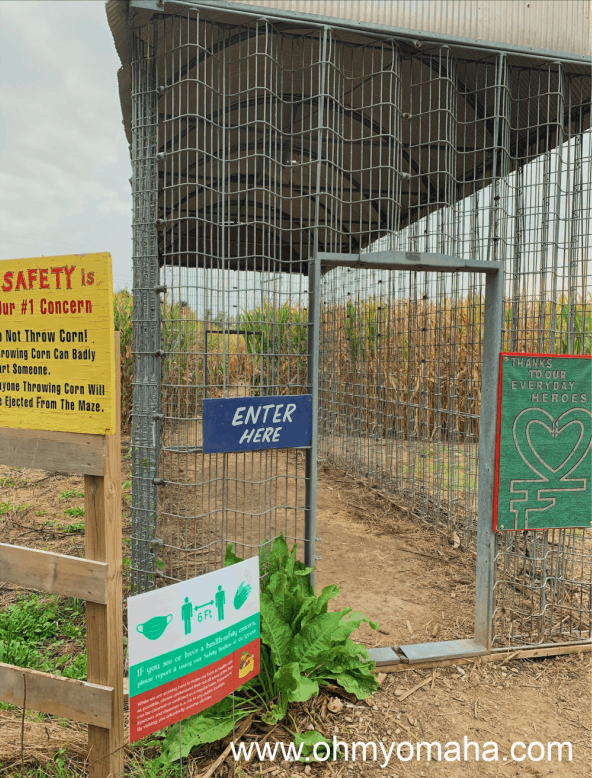 The entrance to Vala's corn maze with safety signage in place.
