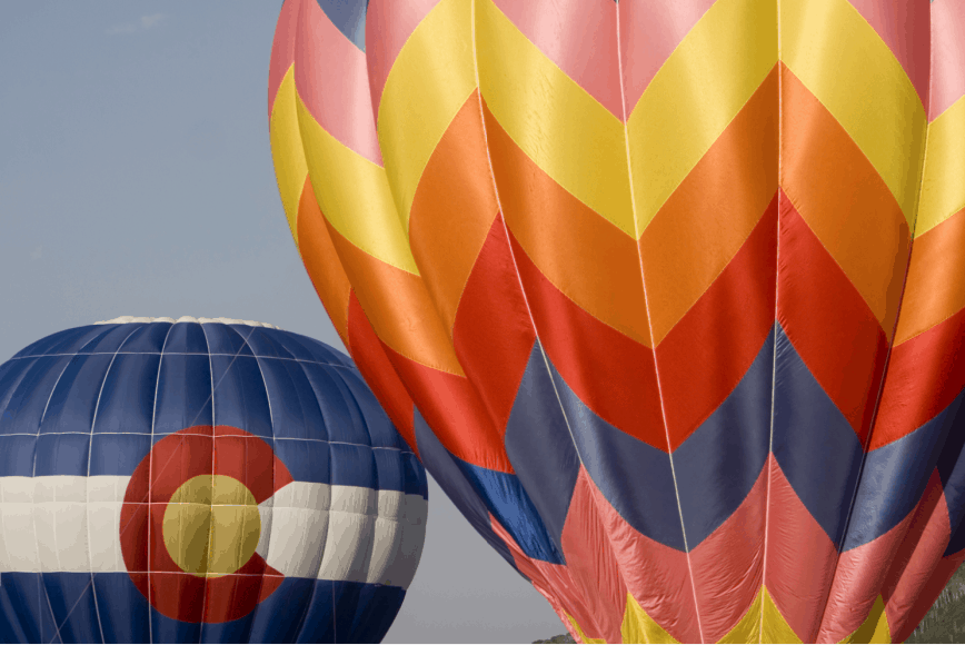 Close-up of hot air balloons in Colorado