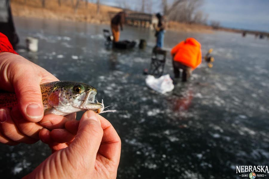 Ice fishing Clinic at Eugene T. Mahoney State Park in Cass County, Nebraska.