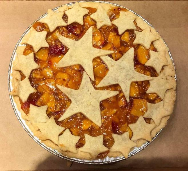 Vanilla peach raspberry pie from The Pie Whole