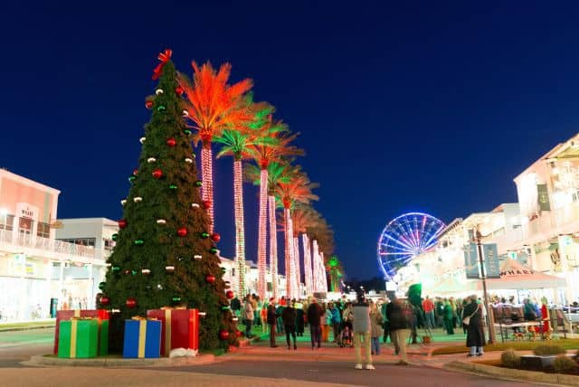 The Wharf in Orange Beach, Alabama decorated for Christmas