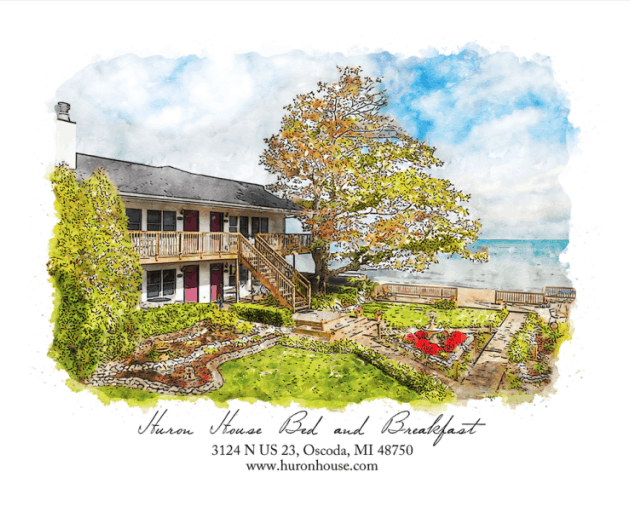 Watercolor of Huron House