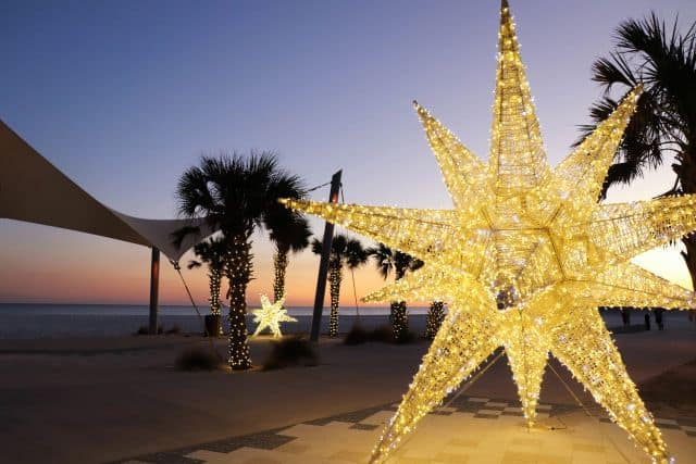 A holiday display on the beach in Alabama