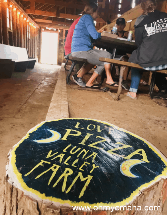 Guests dining at Luna Valley Farm in Decorah, Iowa