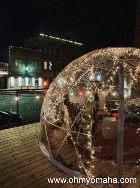 The view of Little Bohemia at night. Igloo is a seasonal option found outside the Tiny Bar.