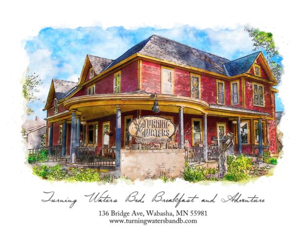 Watercolor painting of Turning Waters Bed & Breakfast inn Minnesota