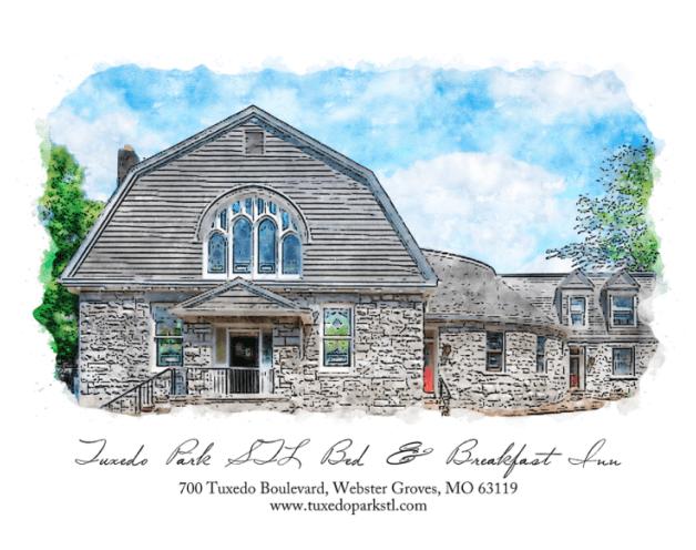 Watercolor painting of Tuxedo Park STL Bed & Breakfast Inn in Missouri