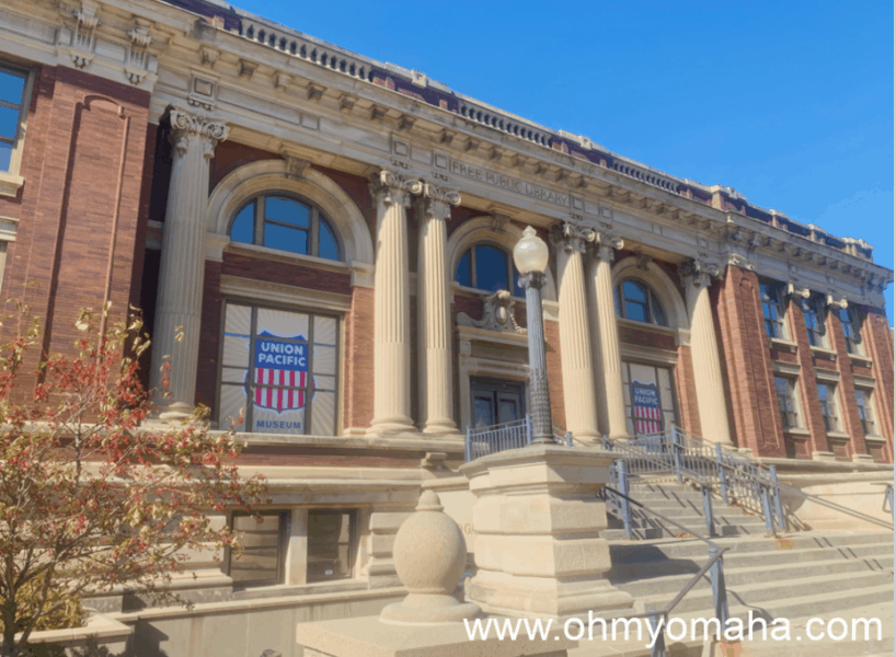 The exterior of Union Pacific Museum in downtown Council Bluffs, Iowa