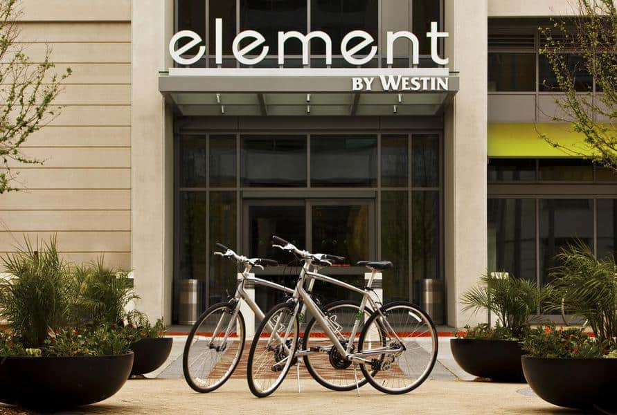 Exterior of Elements Hotel Omaha at Midtown Crossing.