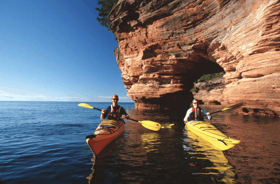 Kayakers at Apostle Islands in Wisconsin