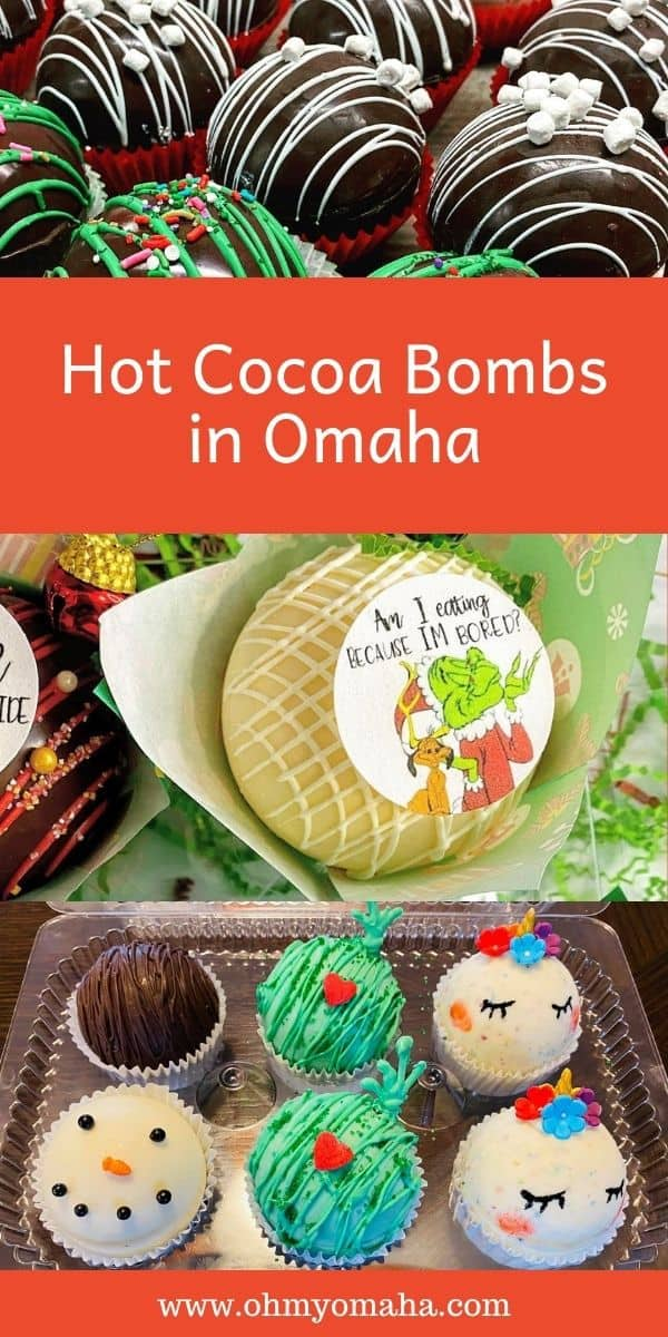 Warm up with hot cocoa bombs in Omaha. Here's a list of bakers and bakeries offering unique hot cocoa bomb flavors and specialty designs like Grinch hot cocoa bombs and unicorn hot cocoa bombs.