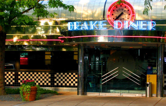 The entrance to Drake Diner in Des Moines, Iowa, home to all-day breakfast.