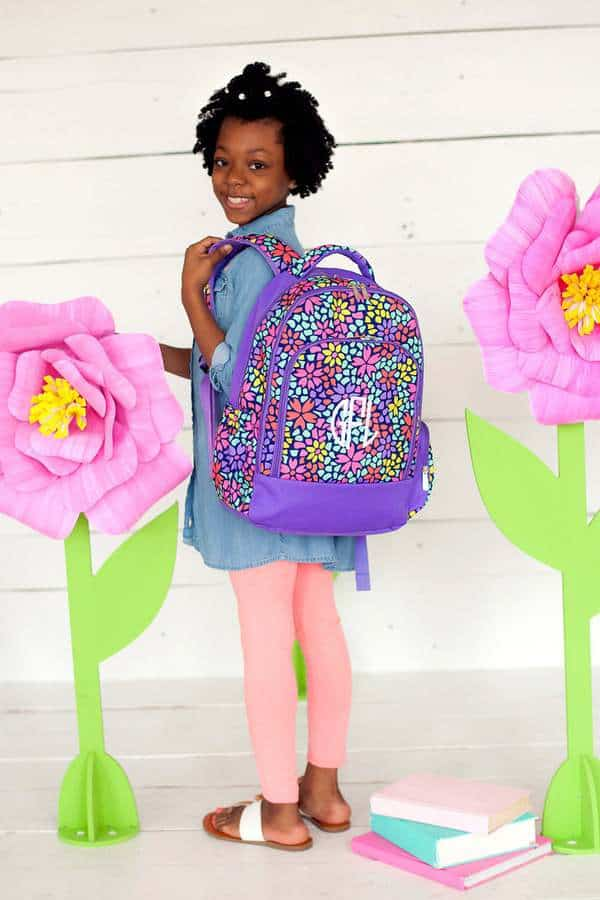 Embroidered backpack made by Fly Babies Embroidery, an Omaha Etsy shop