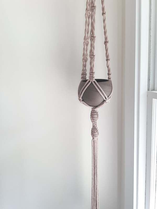 A macrame plant hanger made by Sugar Wolves.