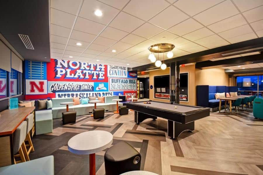 The lounge and billiards table at Tru by Hilton in North Platte. It's a great hotel to stay at if you're planning on viewing the Sandhill Cranes.