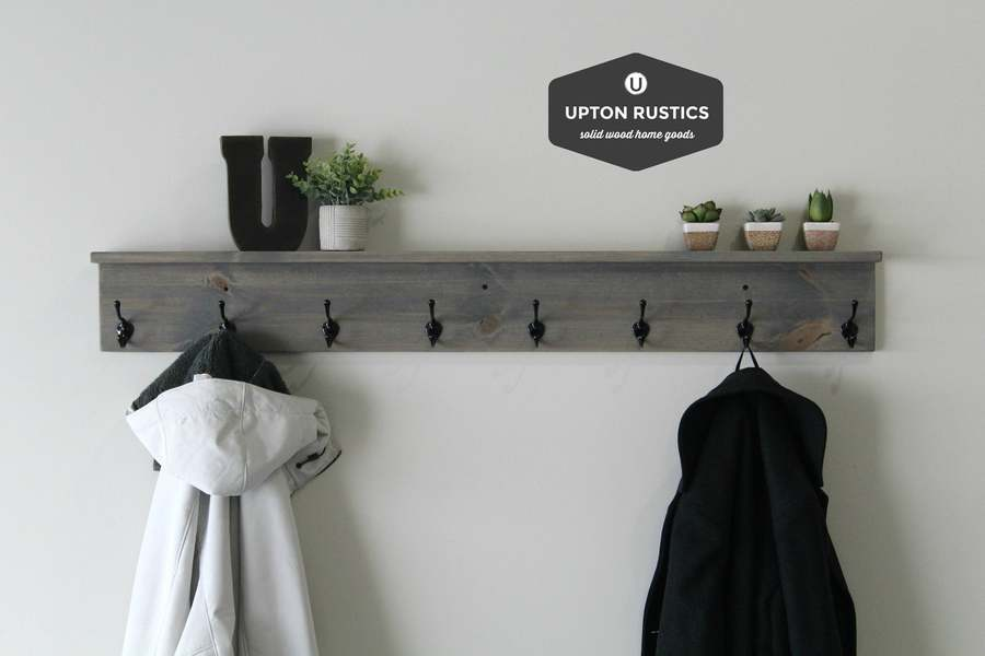 Hanging coat rack made by Upton Rustics in Omaha.