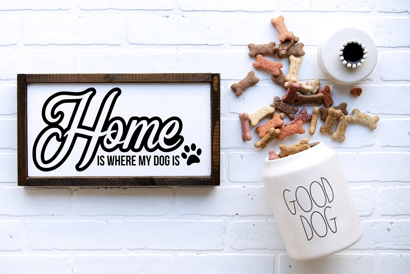 Home is where my dog is sign by Knotty Dog Decor.