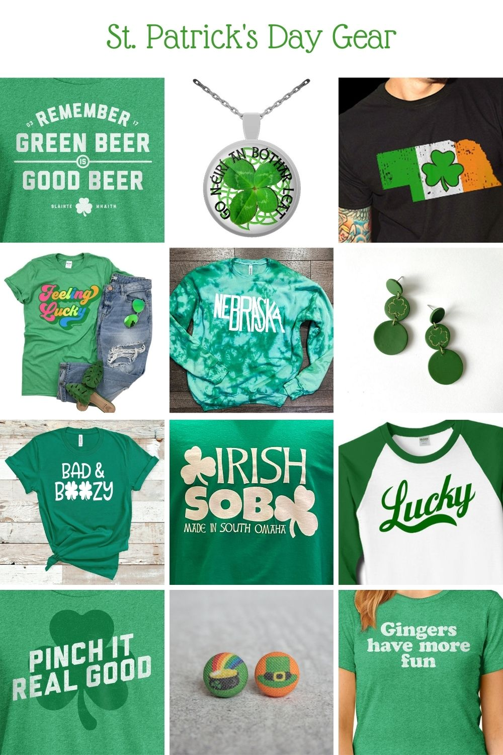 St. Patrick's Day apparel made by Omaha artists or sold online by locally-owned Omaha small businesses.
