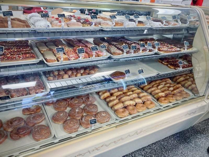 The donut case at Ridgewood Donuts & Bakery in Kansas City, Missouri