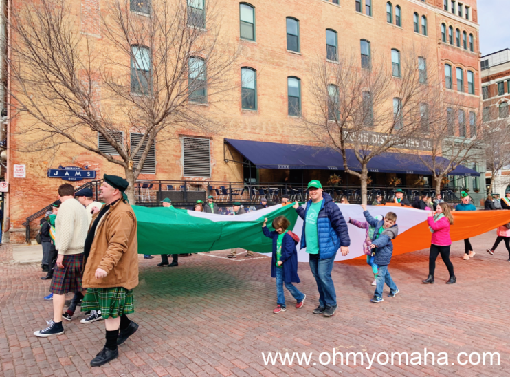 My family and friends walking in the 2019 St. Patrick's Day Parade in downtown Omaha.