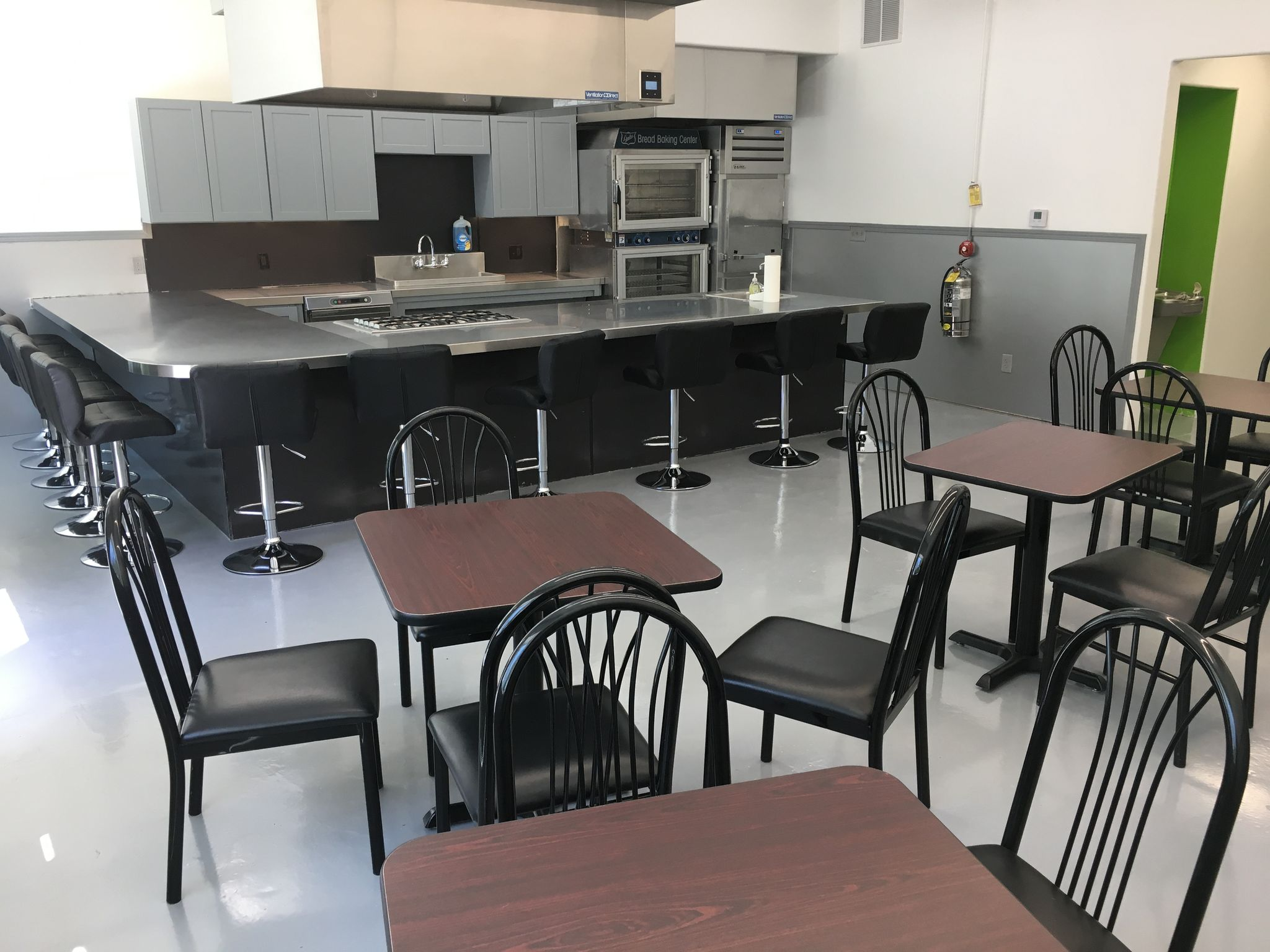 The interior of Kitchen Spaces, a commercial kitchen space that small culinary businesses in Des Moines can base their operations out of.