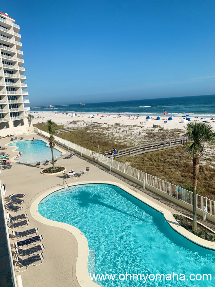 The two pools and beach access at The Lighthouse Condos.