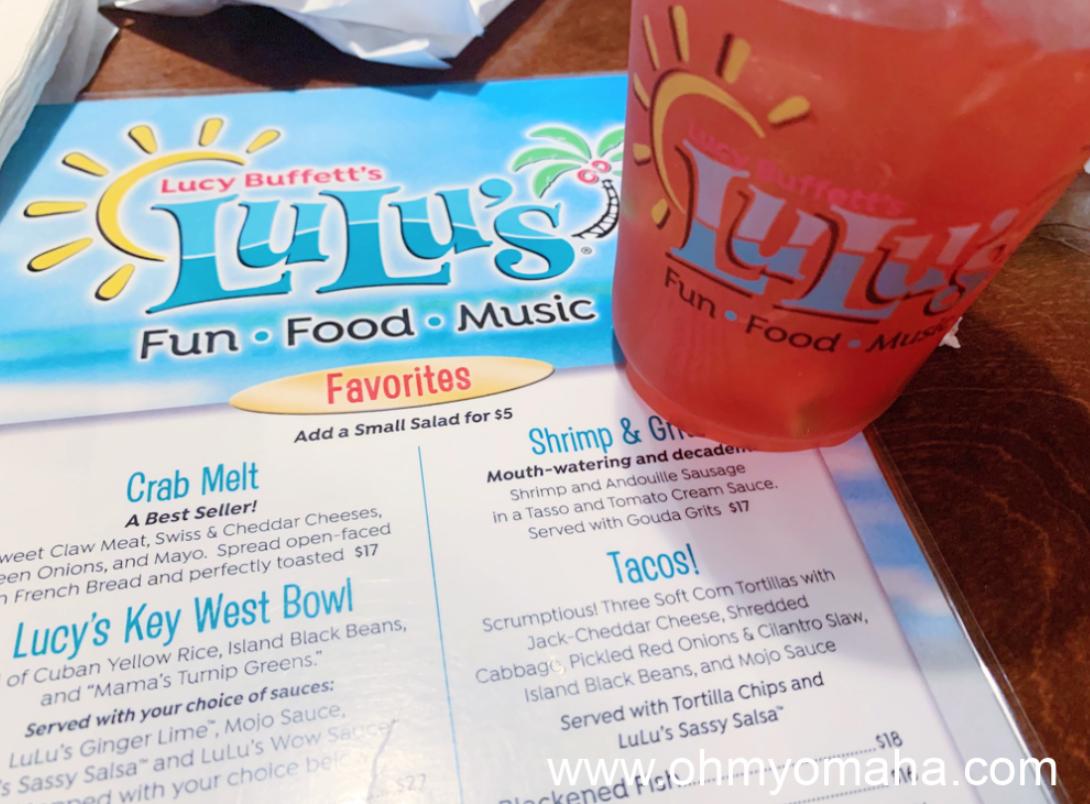 A menu from LuLu's.and a Bama Breeze.