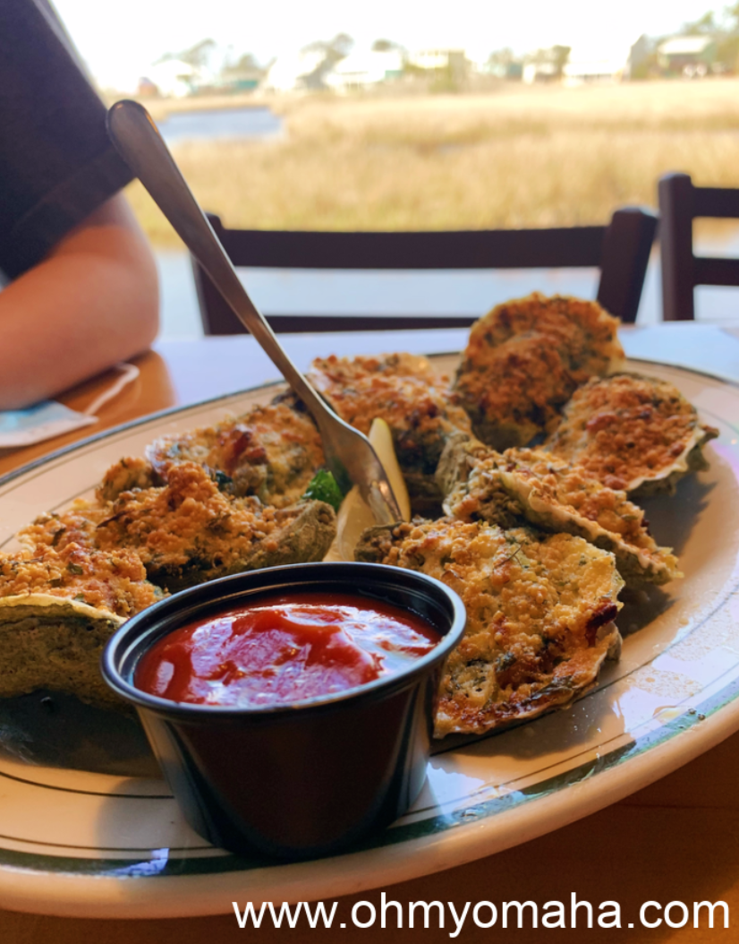Oysters Rockefeller at the Original Oyster House in Gulf Shores, Alabama.
