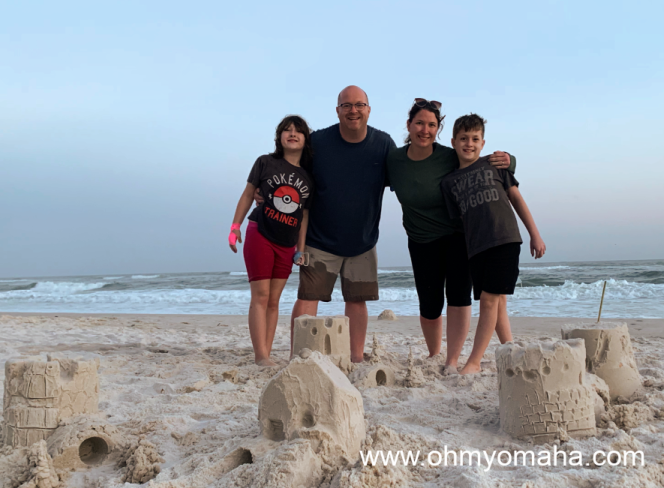 My family with our sandcastle creations on the beach of Gulf Shores, Alabama.