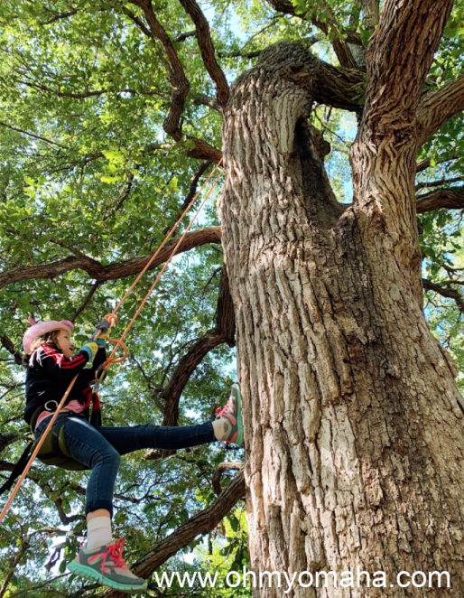 My daughter climbing a tree in Nebraska City, home to Arbor Day.