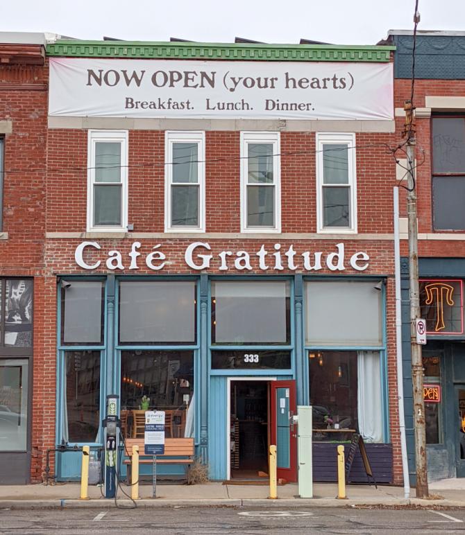 Café Gratitude is a solar-powered vegan restaurant in Kansas City.