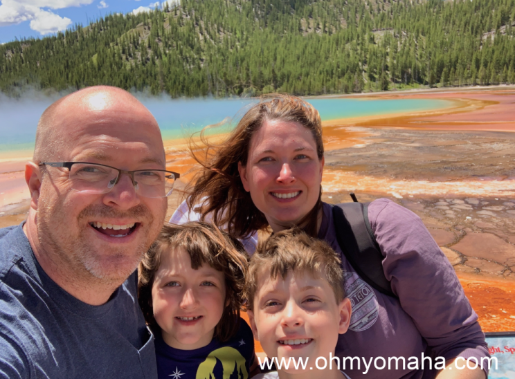 Reiner family at the Grand Prismatic Spring located at the Midway Geyser Basin in Yellowstone
