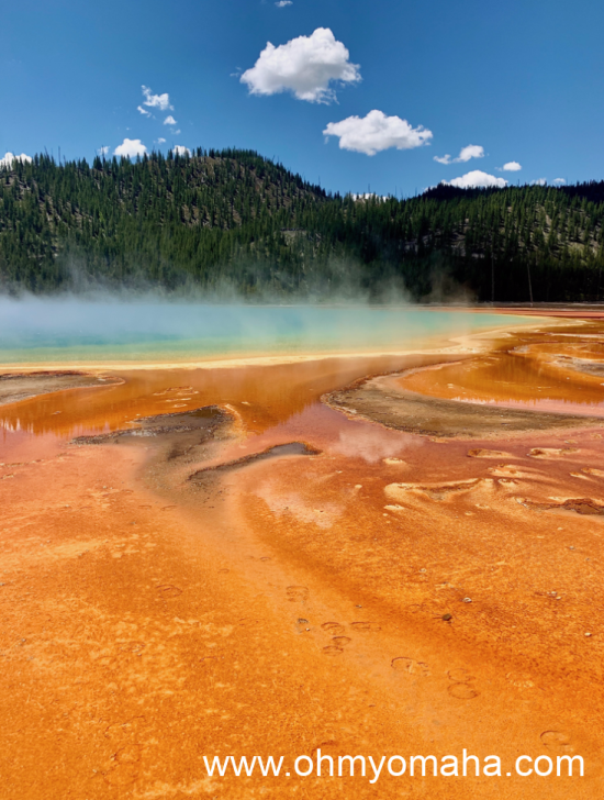 A view of Grand Prismatic Spring in Yellowstone