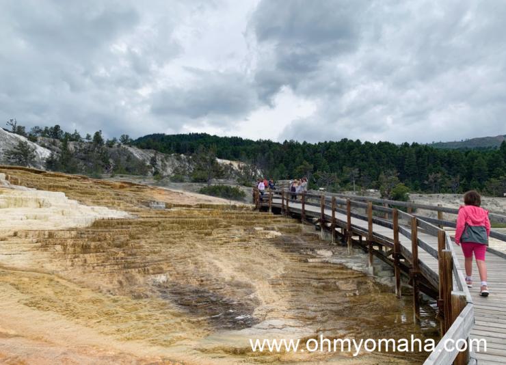 Walking along the boardwalk at Mammoth Hot Springs Terraces