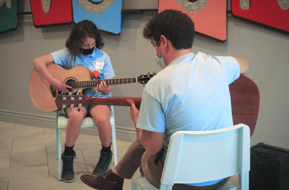Guitar lesson at McGuigan Arts Academy