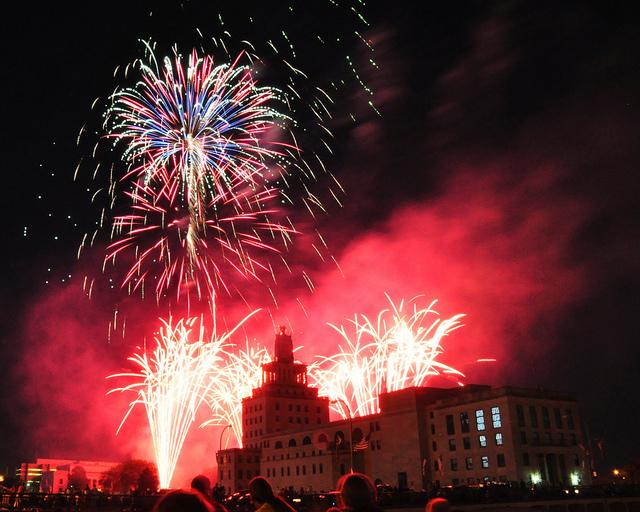 Fireworks display in Cedar Rapids, Iowa