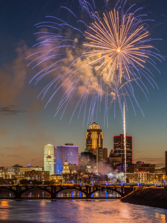 Fireworks over the skyline in downtown Des Moines