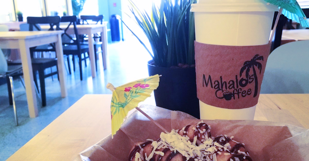 Coffee and a donut at Mahalo's Coffee & Mini Donuts