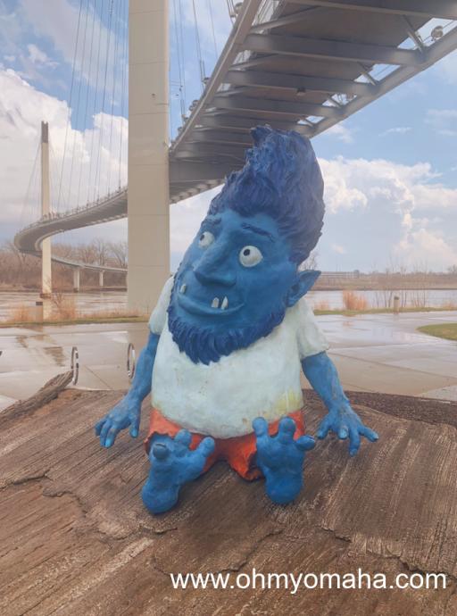The pleasant troll, Omar, underneath the Bob Kerrey Pedestrian Bridge. Find him on the Omaha side of the river.