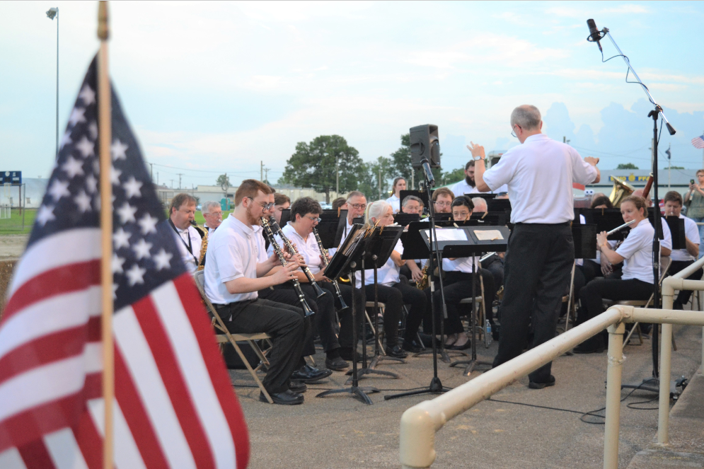 The Cape Girardeau Municipal Band plays patriotic music at the Arena Park grandstand for Cape Girardeau's Great American 4th of July celebration.